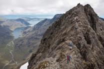 Traversing the north ridge of Sgurr a'Ghreadaidh, a Munro on the Isle of Skye