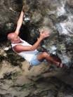 Bouldering inside Cueva Orzola