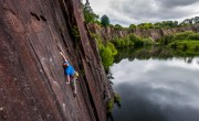 'Surface Tension' practice - pulling through the reachy crux<br>© Fraser