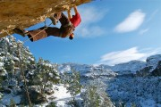Danny O'Neill climbing in Margalef couple of winters back.<br>© Andrew Stripp Photography