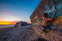 Bouldering at sunset on Noirmoutiers island