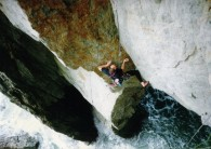 Conan pitch 1, entering the crux groove.