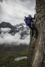 The very brave girlfriend on the Fernau Klettersteig - Stubai Valley, Austria