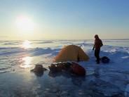 Setting up camp on Lake Baikal, Siberia