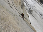 Seconding the 1st pitch of this 12 pitch Chamonix classic.