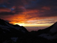 Dawn from the Col at the beginning of the South-South-East Ridge of the Weissmies.