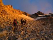 Weissmies, approaching the ridge at sunrise.