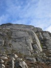 Creag Ghlas, with climbers on first and start of fourth pitches of Salamander