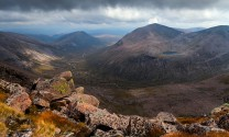 View in pink. From the summit of Braeriach the grandeur of the Cairngorms can be fully appreciated.