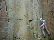 David climbing Wedge at Anglezarke