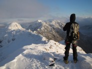 Looking back on the Aonach Eagach on a near-perfect winter's day