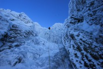 Ed leading the final steep section on Clogwyn Left Hand Branch