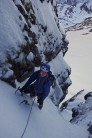 On the easy ground between the ice steps - RH Trinity Gully.