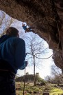 Tom flashing Climb and Punishment on a sunny spring evening sesh.