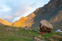A quick evening solo trip to 'problem 10', Honister Boulders by Steven Delaney