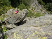 Kate on the final pitch of little chamonix, good bit scarier than it looks!!