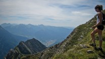 Admiring the path down the ridge from the summit of Mont Charvin.