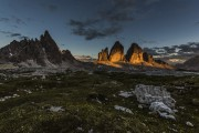 The sun sets on Monte Paterno and the Tre Cime North Faces<br>© James Rushforth