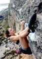 Jenna on the crux of El Chocco<br>© JackMac