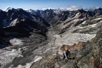 A brief section of easy terrain on the Voie Pierre Allain, La Meije