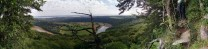 Panoramic view from the top of Papillon (Wynd Cliff), across the Severn to Wintour's Leap and the Severn Bridges