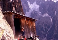 Me at the old Tour Rouge bivy hut in the Chamonix Aiguilles in summer of 1971 - alas the hut is no more.