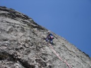 Doug Lang leading the original line, the slab to the left of the 100 foot crack