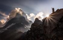 Hornli Ridge of Matterhorn at sundown, Switzerland