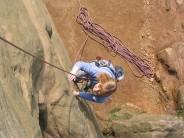 Caroline climbing Lichen Slab (VDiff)