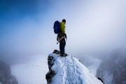 Looking back down the cliffs of Stob Coire nan Lochan after a solo climb up the classic Dorsal Arete.<br>© Hamish Frost