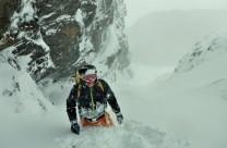 Wading through deep powder on Raeburn's gully