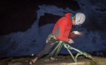 Pete belaying Charlie in the dark