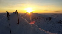 At the top CMD watching the sunrise over Aonach Beag.