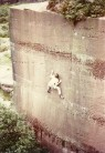 Phil Davidson on the first ascent of Main Wall Pex Hill E5 6b 1981