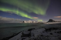 Aurora over Myrland Beach, Lofoten Isles, Arctic Norway this week