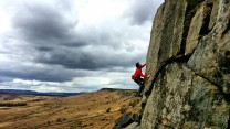 Mischa Hawker-Yates onsighting White Wand on a perfect Stanage day.