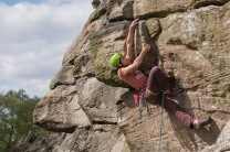 Making the static move through the crux on Orpheus Wall