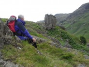 Ken Wilson viewing Gash rock near Sergeant Crag Slabs, 2011