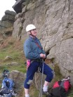 Ken Wilson modelling high performance climbing trousers