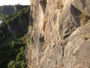 Via Ferrata on Avon Gorge?!?  Reaching for the first iron spike on the audacious 2nd pitch of Pink Wall Traverse