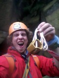 Calum psyched for his find at the Roaches!