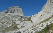 Approaching the Punta della Sfinge NE face,  Passo Ligoncio to the right.