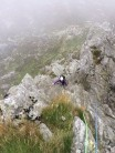 Coming up 'Groved Arete' on my first ever big mountain day on Tryan in North Wales