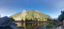 """Panorama of Tumwater Canyon with Castle Rock in the centre. Taken from above """"The Beach"""" area"""
