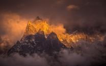 Aiguille du Peigne and Aiguille des Pélerins above Chamonix at sunset