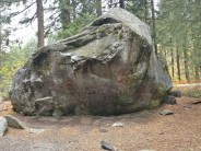 The 'Hate Rock' boulder. The routes from 'Cramps' run from back left up to the overhang. 'Raven' is just right of the overhang.