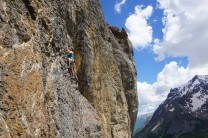 The first 6b on Roche Noire, stunning back drop of the Ecrins