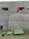 Posing, grumpily, ontop of the bunker