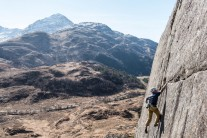 A reachy move gains the crack and first/final gear: Skyfall 4th ascent