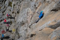 Eyeing up the crux on Space Cadet.